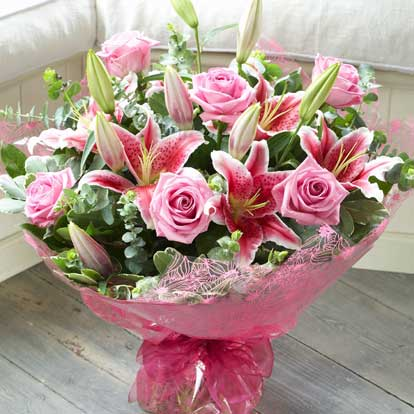 Breast Cancer charity pink bunch of flowers Interflora.jpg