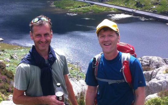 Iain (right) on a training walk in  Snowdonia.