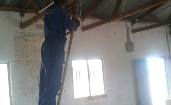Electrical wiring been done in one of the classrooms at Elwak Girls Primary School