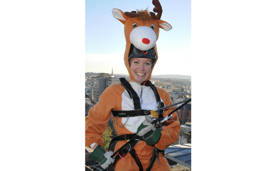 Rudolph tackling the abseil challenge!