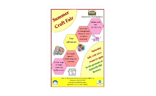 Epworth Old Rectory Summer Craft Fair poster
