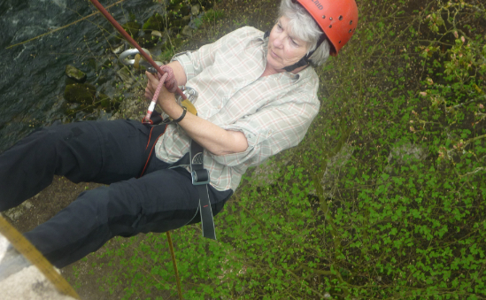 Alison concentrating ready for the drop!