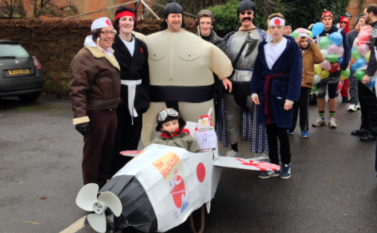 The Kamikaze Khorus promote The Mockado winning best barrow and costumes at The Sunninghill Wheelbar