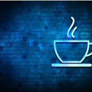 Coffee cup on blue background